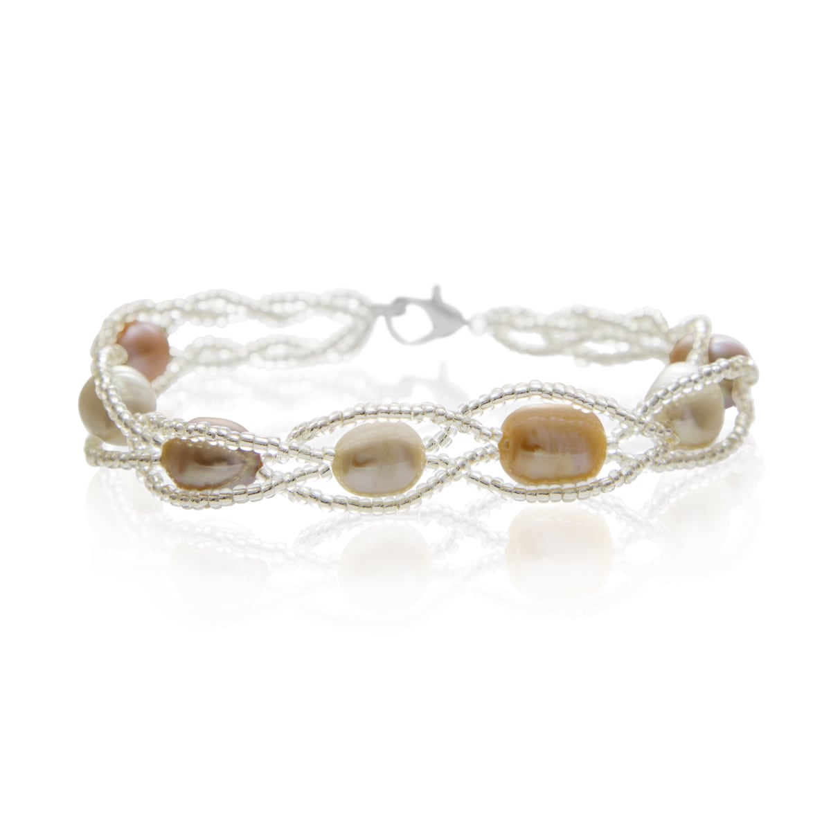 The 8mm Freshwater Cultured Pearl and Braided Bead Bracelet travel product recommended by Edna Campos on Lifney.