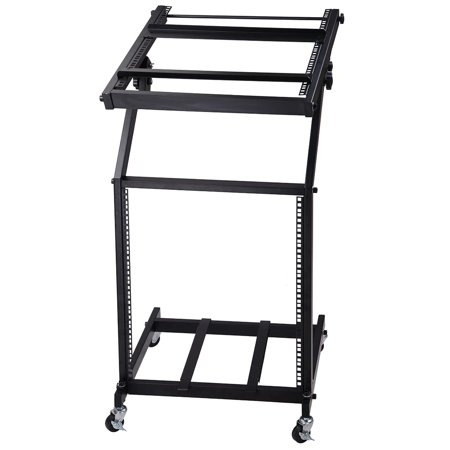 Adjustable Rack Mount Studio Equipment Rolling DJ Mixer Stand Stage Cart Music Party Show 12U