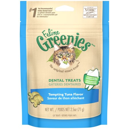FELINE GREENIES Dental Natural Cat Treats Tempting Tuna Flavor, 2.5 oz. Pouch