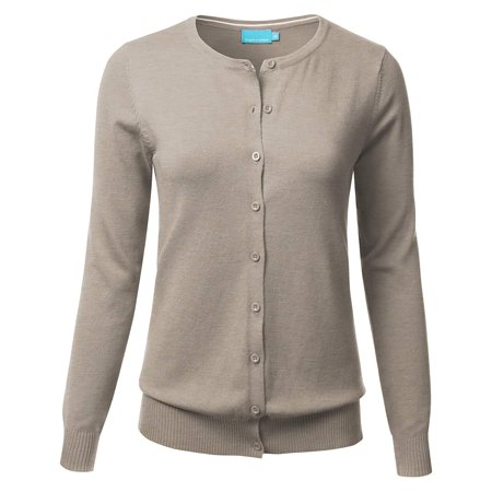 Women & Juniors' Button Down Crew Neck Long Sleeve Soft Knit Cardigan Sweater (S-3X) (Long Sleeve Cardigan For Juniors)