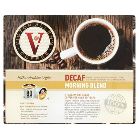 Victor Allens Coffee Decaf Morning Blend Single Serve Brew Cups  0 34 Oz  80 Count