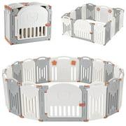 14-Panel Foldable Baby Playpen, Kids Safety Activity Center Playard w/Locking Gate