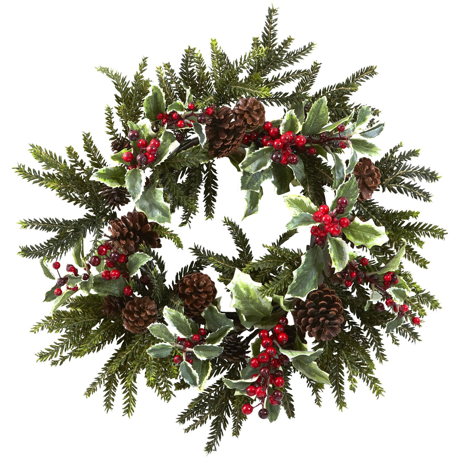"""Nearly Natural 22"""" Holly Berry Wreath"""
