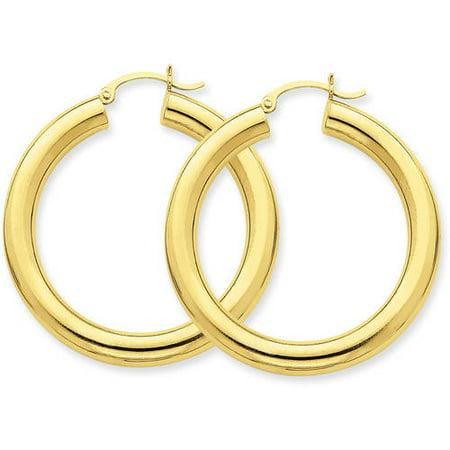 (14kt Yellow Gold Polished 5mm Tube Hoop Earrings)