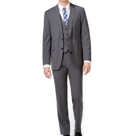 Calvin Klein NEW Gray Mens 38R Modern Plaid Two Button Wool Suit Set Washable Wool Suits