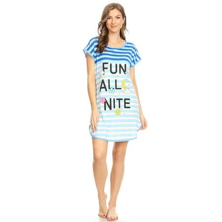 ZZ15008 Womens Nightgown Sleepwear Pajamas Woman Sleep Dress Nightshirt Blue 117 XXL