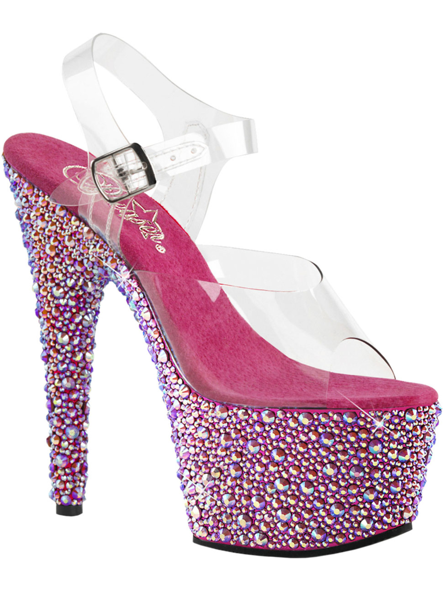 Womens Pink High Heels Platform Sandals Open Toe Shoes Rhinestones 7 Inch Heels