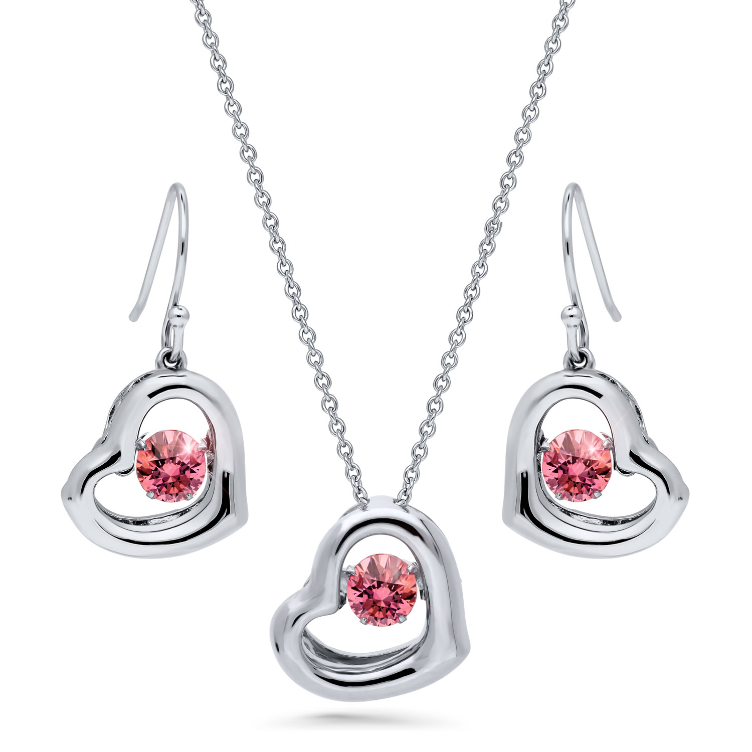 Platinum and Rhodium Plated Sterling Silver Cubic Zirconia Cubic Zirconia Open Heart Necklace and Earrings Set by BERRICLE