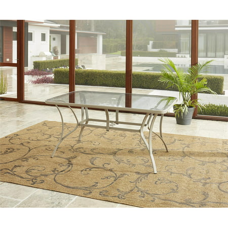 COSCO Outdoor Living Paloma Steel Patio Dining Table, Sand Steel Frame, Tempered Glass Table Top ()