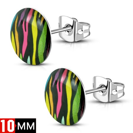 10mm Stainless Steel and Acrylic Rainbow Zebra Stripes Circle Stud Earring
