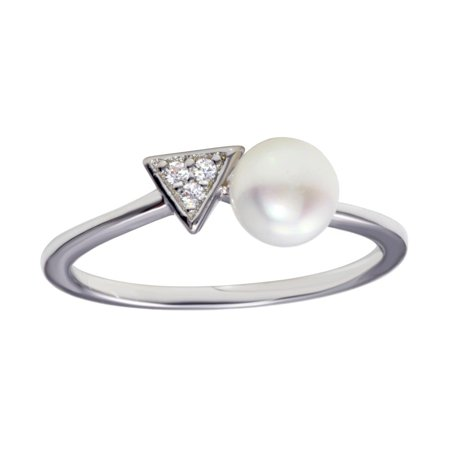 Clear Cubic Zirconia and Synthetic Pearl Bead Ring Rhodium Plated Sterling Silver Size 9