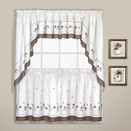 "GINGHAM 60"" X 14"" WINDOW CURTAIN VALANCE TAUPE"