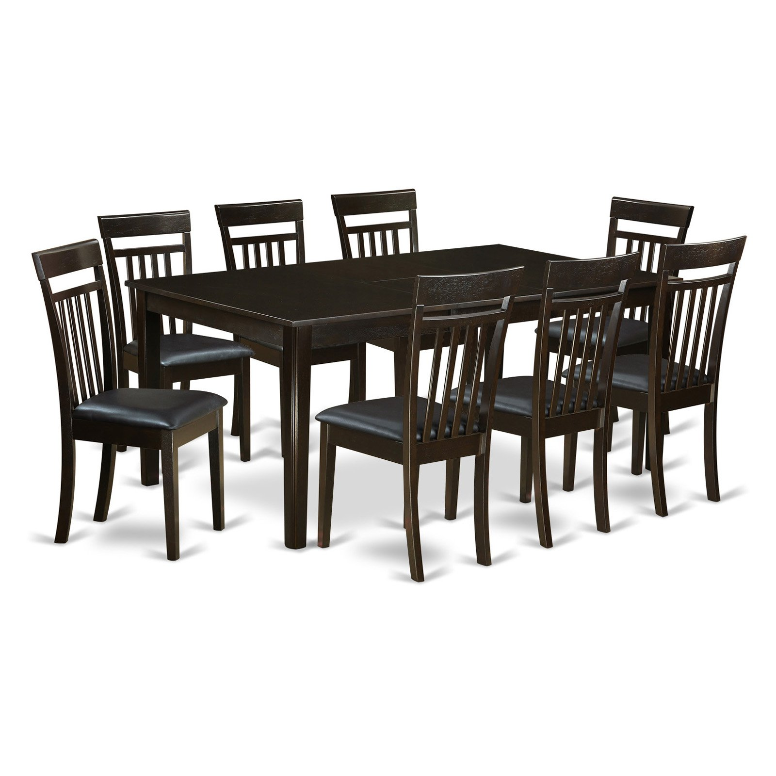 East West Furniture Henley 9 Piece Extension Dining Table Set with Capri Chairs