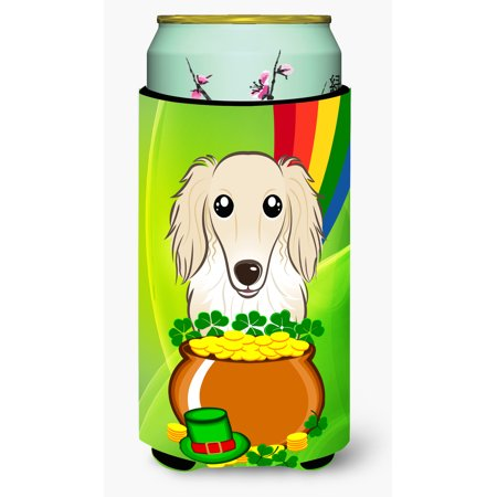 Longhair Creme Dachshund St. Patrick's Day Tall Boy beverage Insulator Hugger (Tall Cream)