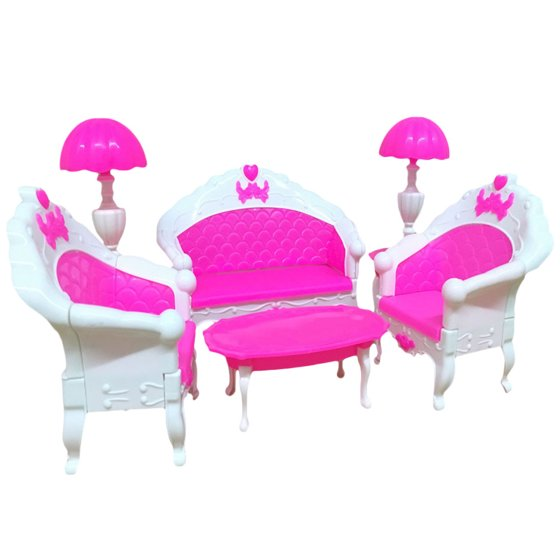 OUTOP 6PCS Pink Mini Dollhouse Furniture Play Sets Living Room Set ...