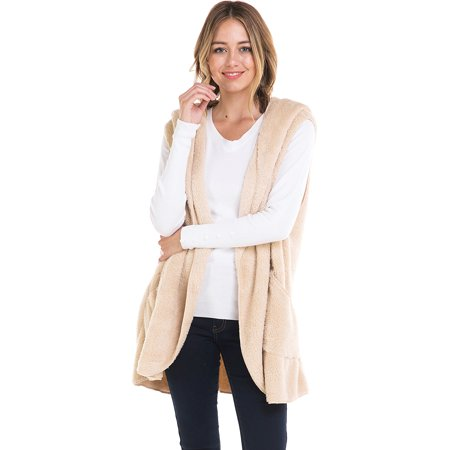 Loving People Soft Warm Fleece Hooded Vest, Large, (Hooded Fleece Vest)