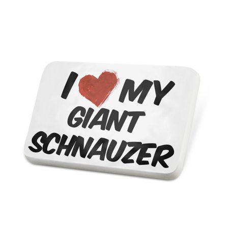 Giant Lapel Pin - Porcelein Pin I Love my Giant Schnauzer Dog from Germany Lapel Badge – NEONBLOND