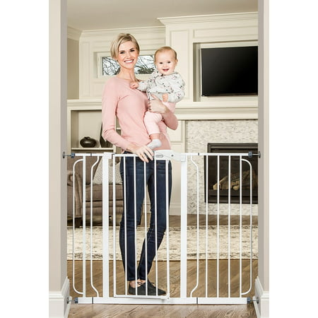 Regalo 38-Inch Extra Tall and 49-Inch Wide Walk Thru Baby Gate, Includes 4-Inch and 12-inch Extension Kit, 4 Pack of Pressure Mount Kit and 4 Pack of Wall Mount Kit ()