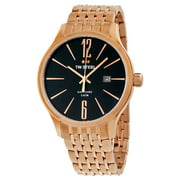 Slim Line Black Dial Rose Gold-tone Stainless Steel Mens Watch TW1308