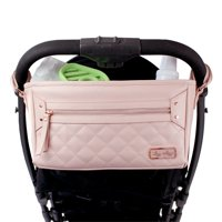 Itzy Ritzy Adjustable Stroller Caddy & Stroller Organizer Featuring Two Built-in Pockets, Front Zippered Pocket and Adjustable Straps to Fit Nearly Any Stroller, Blush