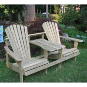 Weathercraft Adirondack Double Seater Standard Height Tete-A-Tete with Umbrella Hole - Unfinished