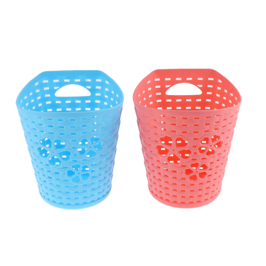 Plastic Hollow Out Heart Storage Basket Holder Coral Pink Blue 2 Pcs