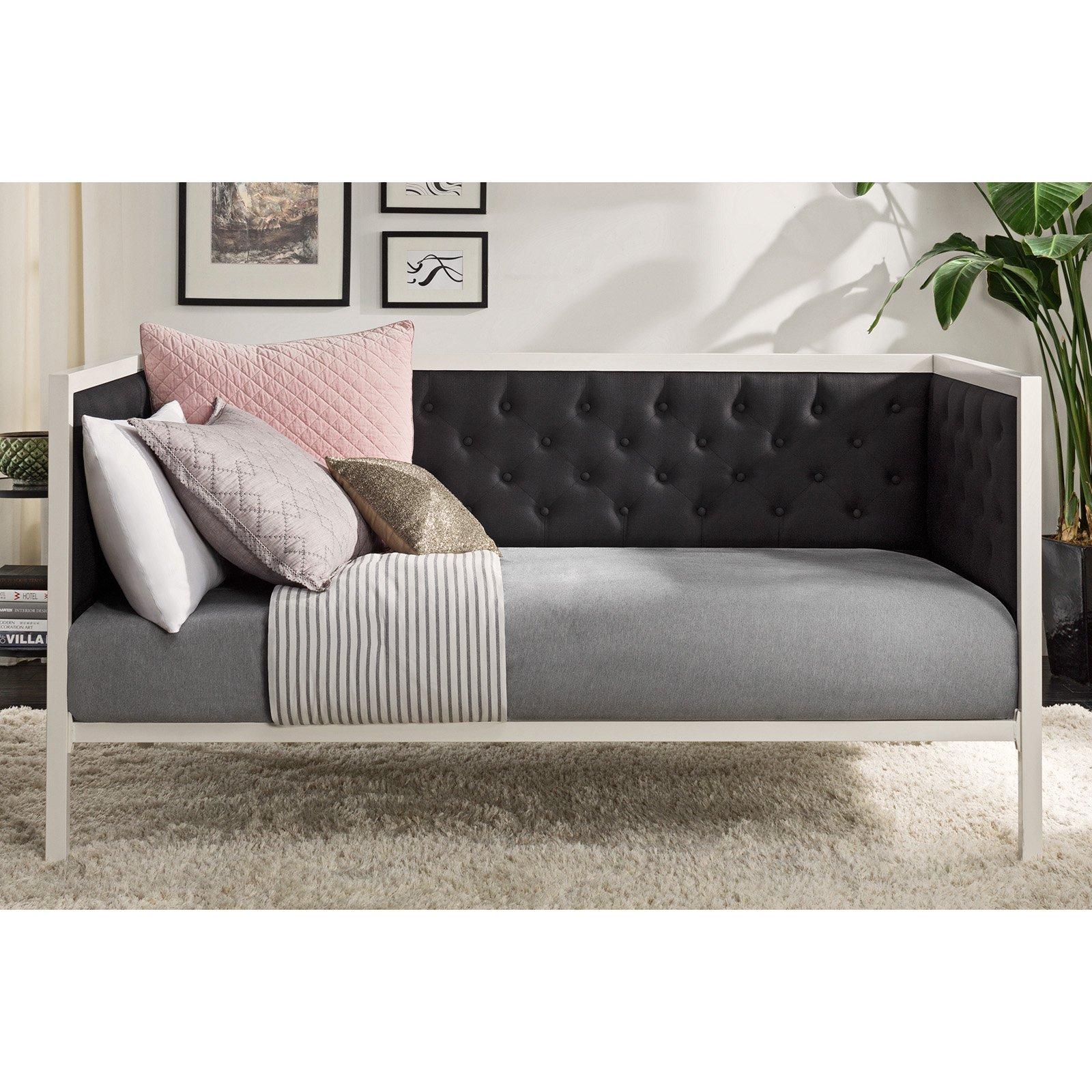 DHP Soho Modern Day Bed, White Metal with Black Linen, Multiple Sizes by Dorel Home Products