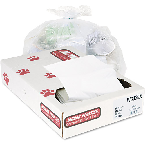 Jaguar Plastics Industrial Strength White Commercial Can Liners, 33 gal, 100 ct