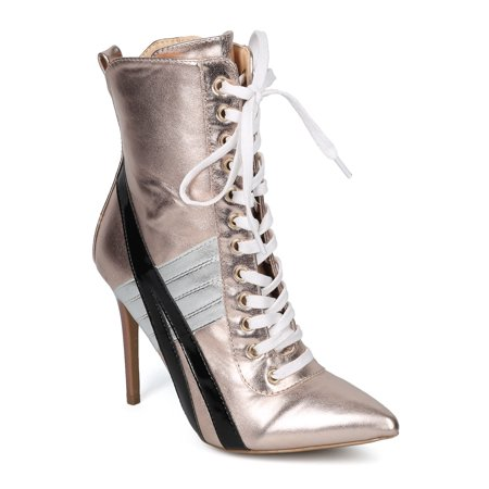 Women Pointy Toe Sports Stripe Lace Up Stiletto Bootie - HF17 by Wild Diva Collection