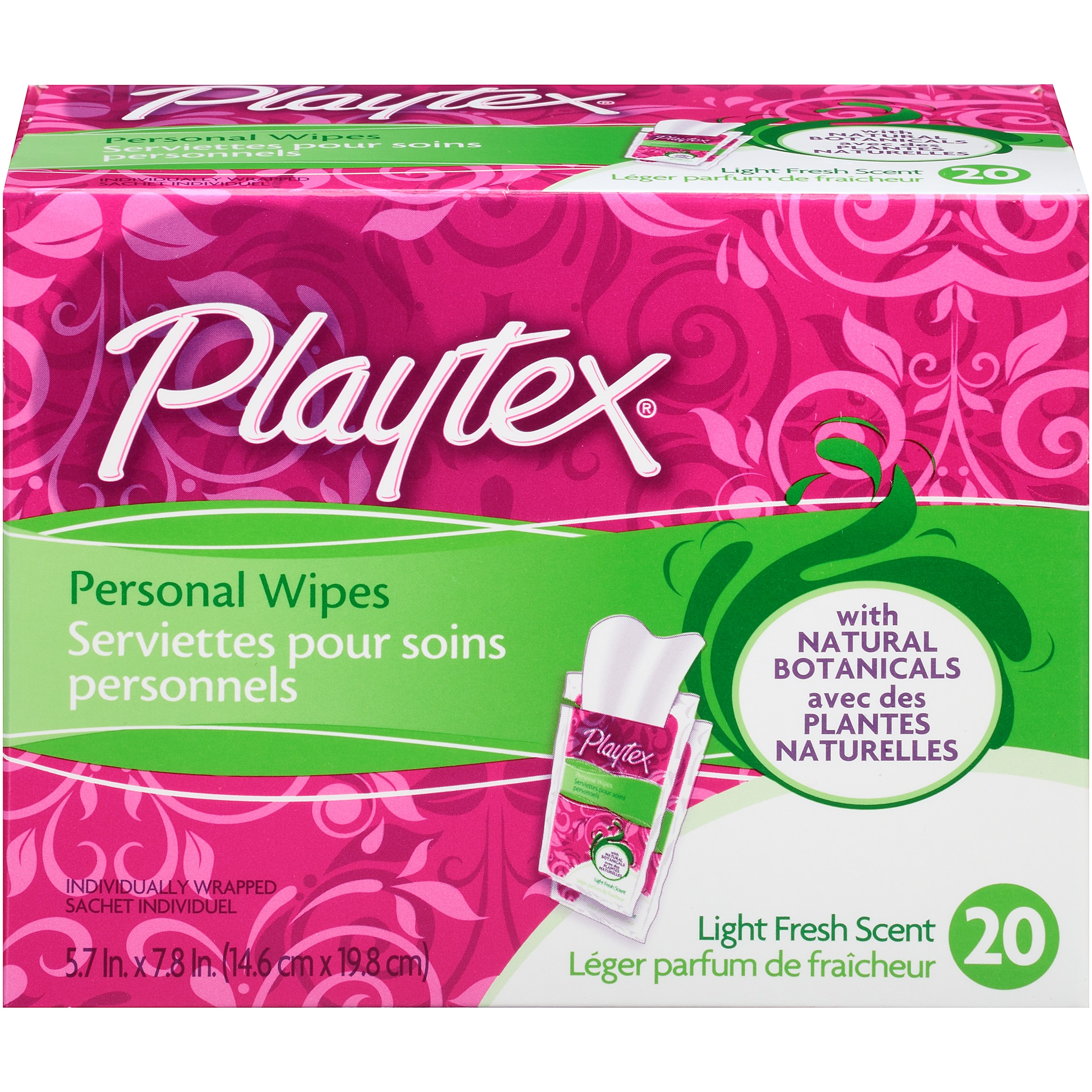 Playtex Personal Single Wipes, 20 Ct