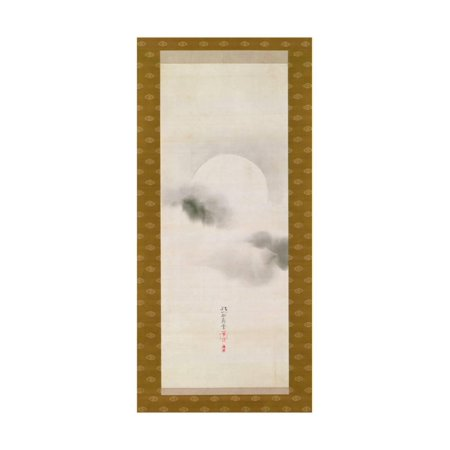 Hanging Scroll Depicting the Autumnal Moon, from a Triptych of the Three Seasons, Japanese Print Wall Art By Sakai Hoitsu - Japanese Hanging Scroll