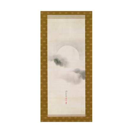 Hanging Scroll Depicting the Autumnal Moon, from a Triptych of the Three Seasons, Japanese Print Wall Art By Sakai Hoitsu Blossom Scroll Wall Art