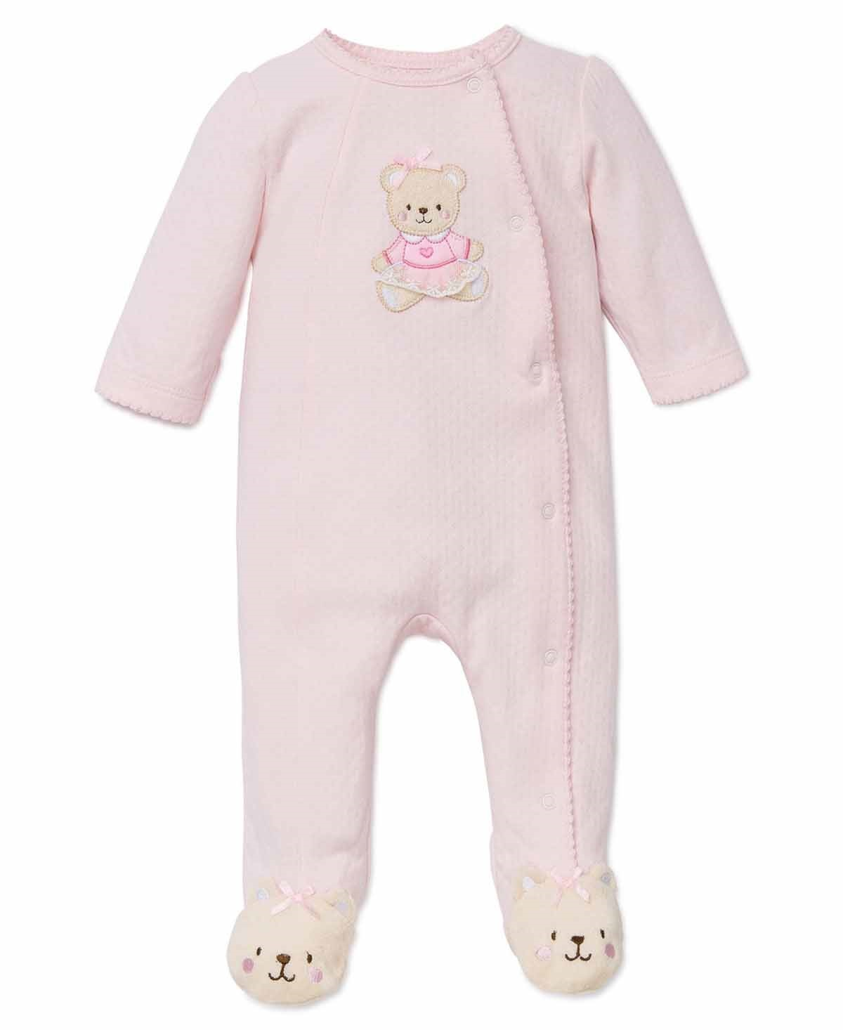 LITTLE ME Baby or Toddler Girls 1-Piece Snug Fitting Sleeper Pajama (Light Pink, 6 Month)