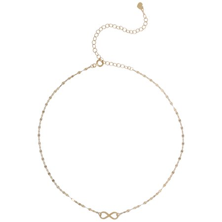 10 Karat Yellow Gold Infinity Choker Necklace, 12'' + (Four Paws Choker)