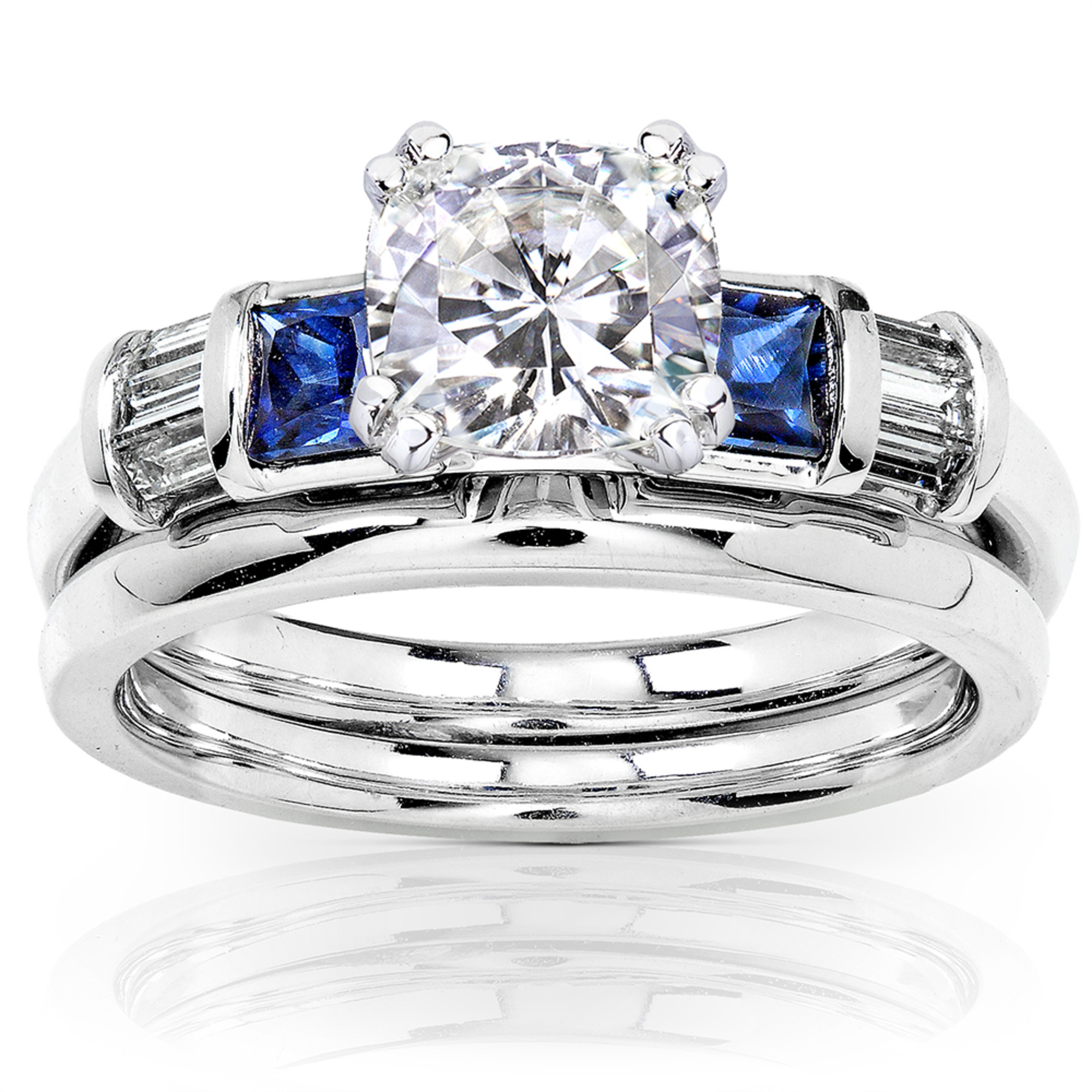 Cushion Moissanite Bridal Set with Sapphire and Diamond 1 1 2 CTW Platinum by