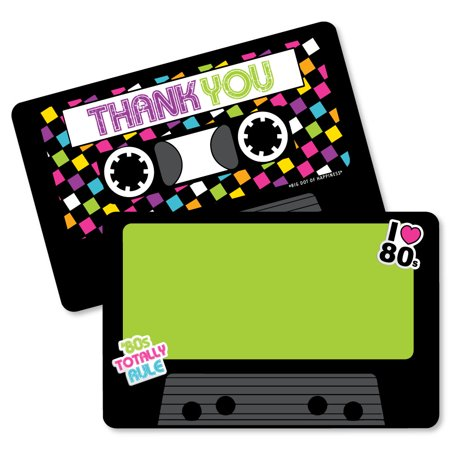 80's Retro - Shaped Thank You Cards - Totally 1980s Party Thank You Note Cards with Envelopes - Set of 12 (Black And White Thank You Cards)