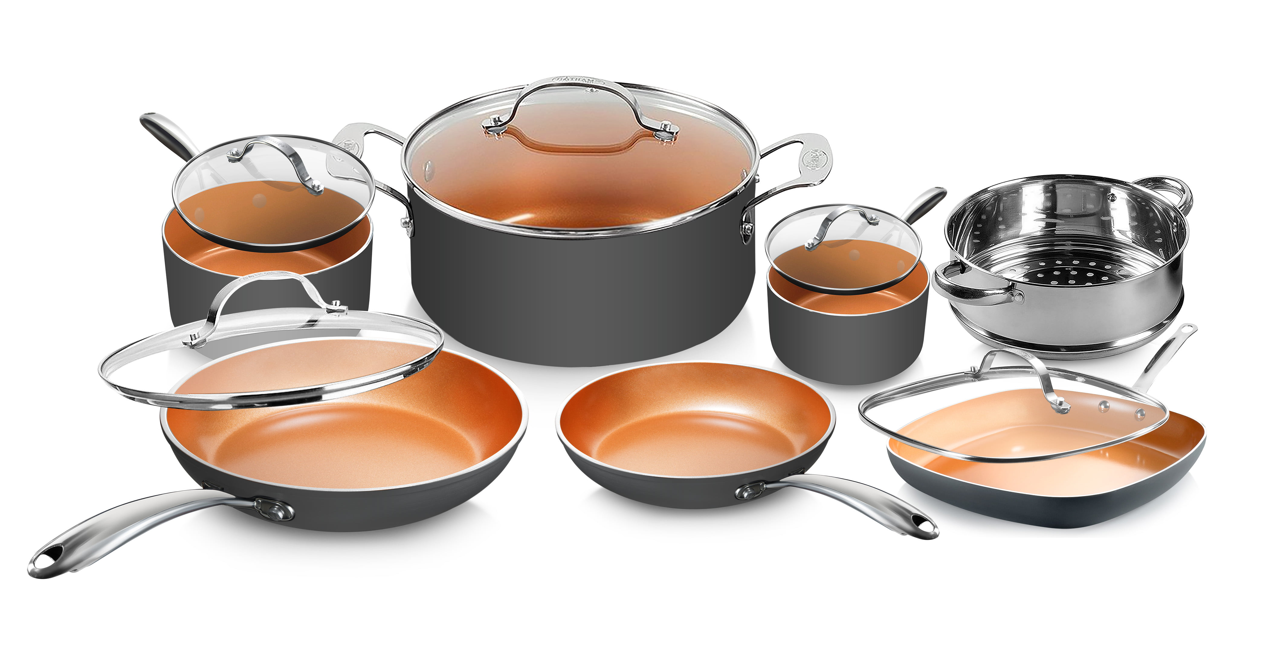 Gotham Steel Diamond 12-Piece Cookware Set with Non-Stick Ti-Cerama Copper Coating, Includes Skillets, Frying Pans and Stock Pots, Dishwasher and Oven Safe, Stainless Steel Handles, Graphite