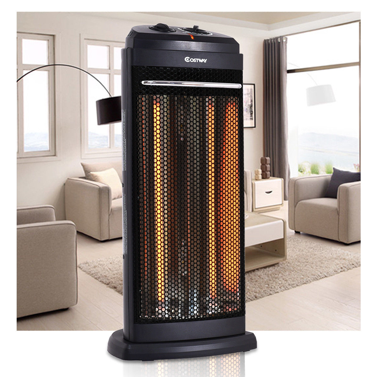 Costway Infrared Electric Quartz Heater Living Room Space Heating Radiant Fire Tower by Costway