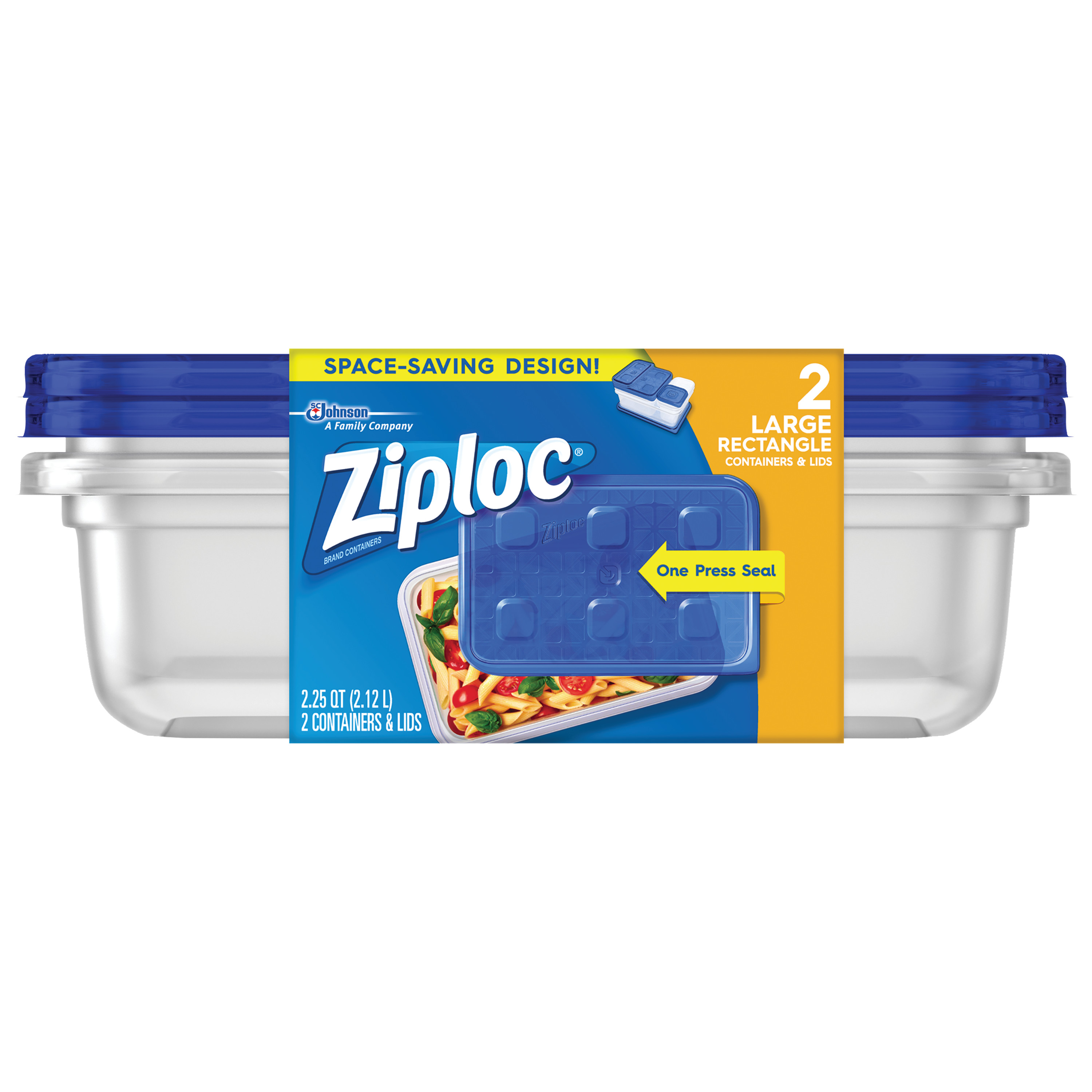 Ziploc Container with One Press Seal, Large Rectangle, 2 count