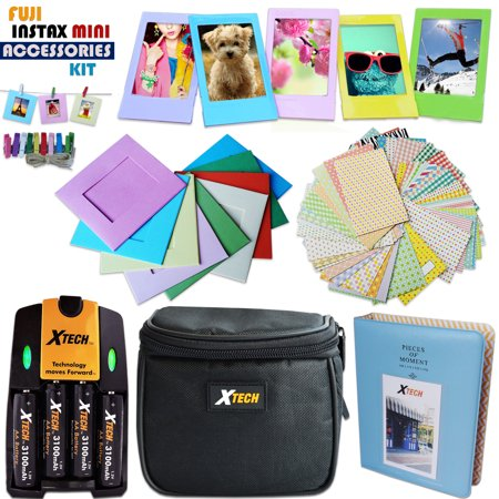 Image of Xtech FujiFilm Instax Mini Accessories Kit f/ Fujifilm Instax Mini 8, Mini 8 N, Mini8 Mini 8 Mini 7, Mini 7s, Mini 50s Includes Assorted Frames, 4 AA Batteries w/ Charger + Case + Picture Album + MORE