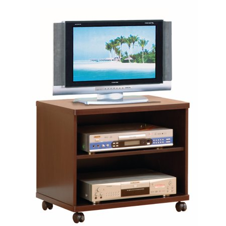 - Transitional Style TV Cart With Open Shelves, Brown