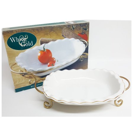 Rectangular Serving Rack (Bali White & Gold Rectangular Casserole With Serving)