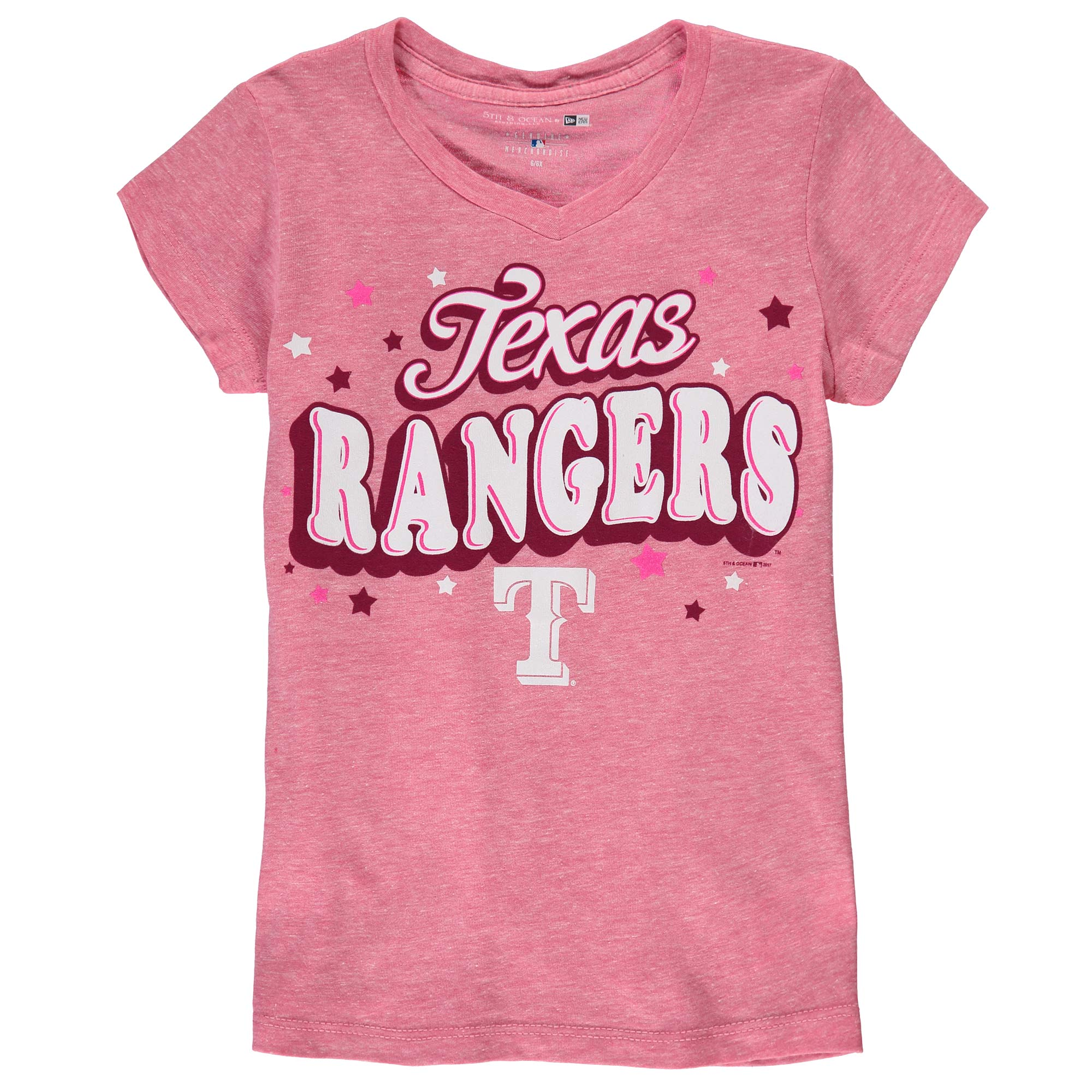 Texas Rangers Girls Youth Stars Tri-Blend V-Neck T-Shirt - Pink