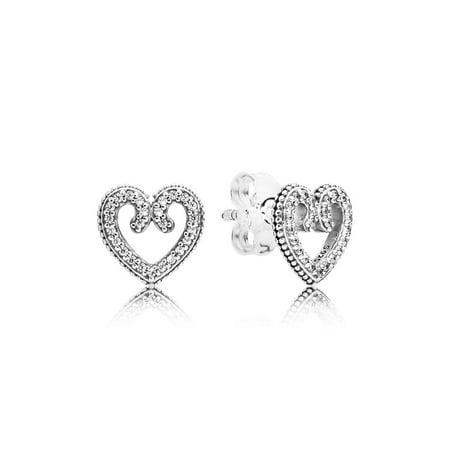 Heart stud earrings w/50 micro bead-set clear CZ Earring 297099CZ