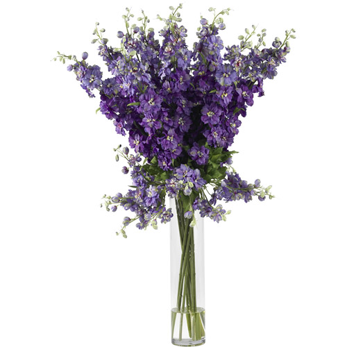Nearly Natural Delphinium Silk Flower Arrangement, Purple