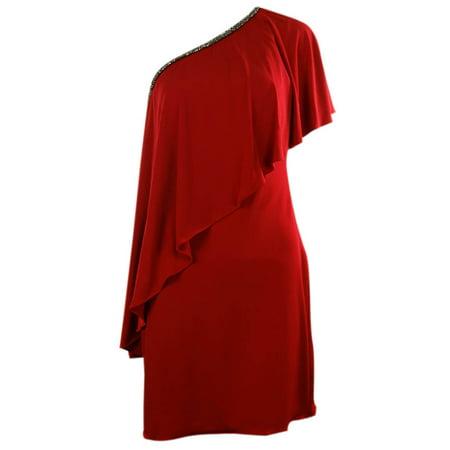 One Shoulder Bead Embellished Jersey Dress (10, Red)