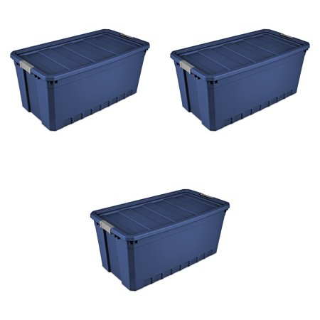 Sterilite, 50 Gal./189 L Stacker Tote, Stadium Blue, Case of 3 - Plastic Storage Tubs