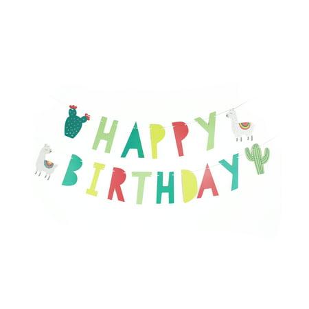 Happy Birthday Pennant Banner (Llama and Cactus, Happy Birthday Banner, 17 Pennants, Paper, 2)