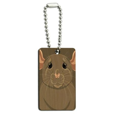 Dumbo Rat - Rat Dumbo Fancy Gray - Pet Mouse Wood Rectangle Key Chain