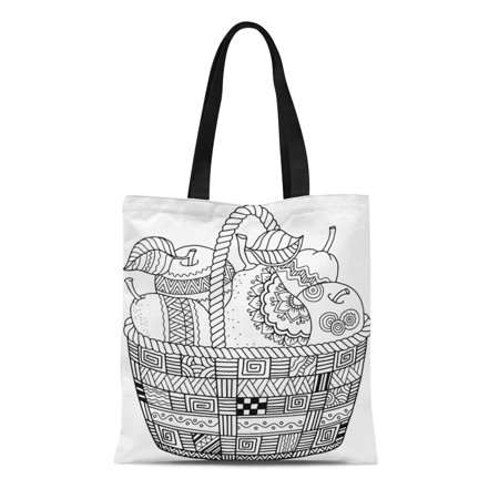 ASHLEIGH Canvas Bag Resuable Tote Grocery Shopping Bags Colorful Page Coloring Book for Adult Thanksgiving Day Basket of Apples Fruit Tote Bag